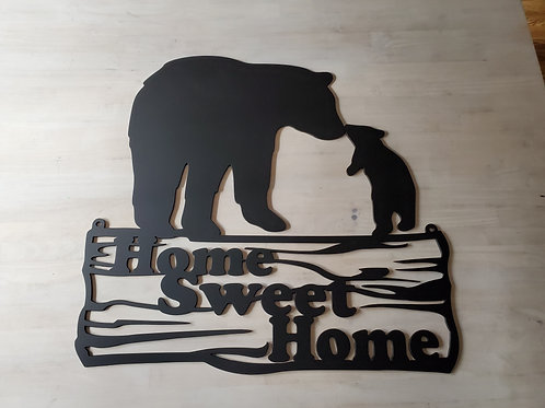 """""""Home Sweet Home"""" Momma Bear with Cub Sign w/Hang Holes"""