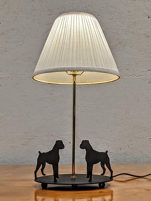 Boxer Dual Dog Lamp w/Oval Base