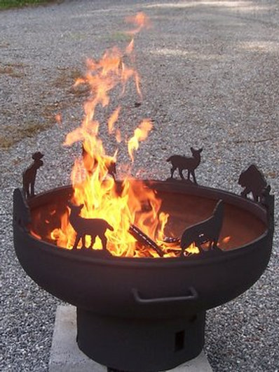 Custom Deer, Wolf, and Bear Fire Pit