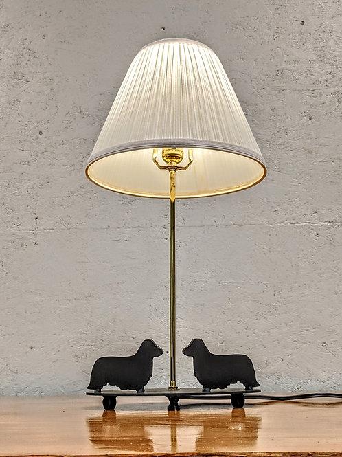 Dachshund Dual Dog Lamp w/Oval Base