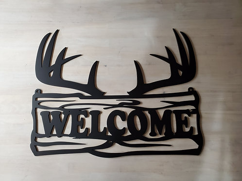 """WELCOME"" Antlers Sign w/Hang Holes"