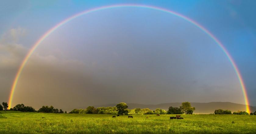 Full Rainbow Over Farmland