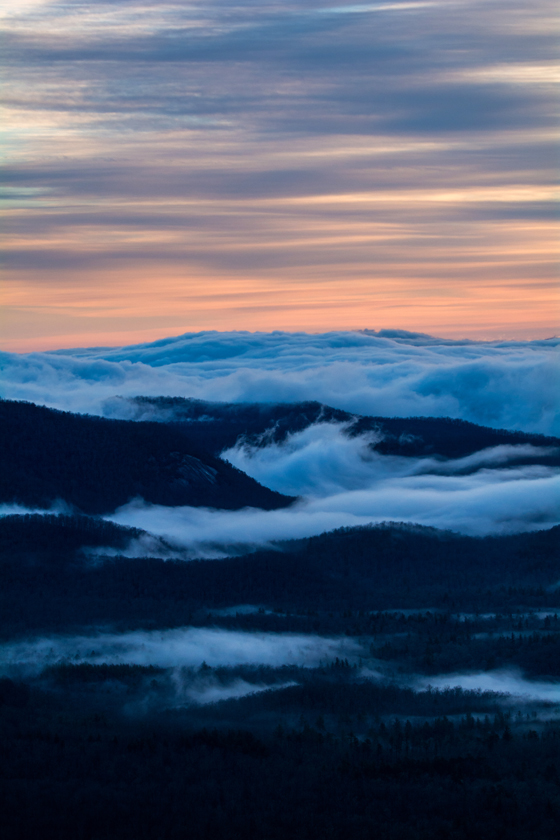 Fog Rising Along the Blue Ridge Mountain