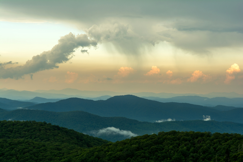Rain Moving in Over the Blue Ridge Mountains
