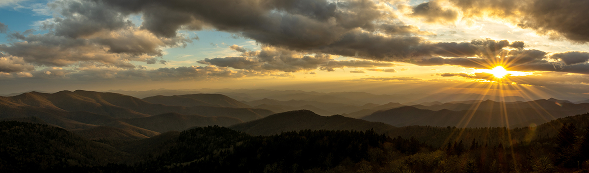 Sunset From Cowee Mountain Along the BRP