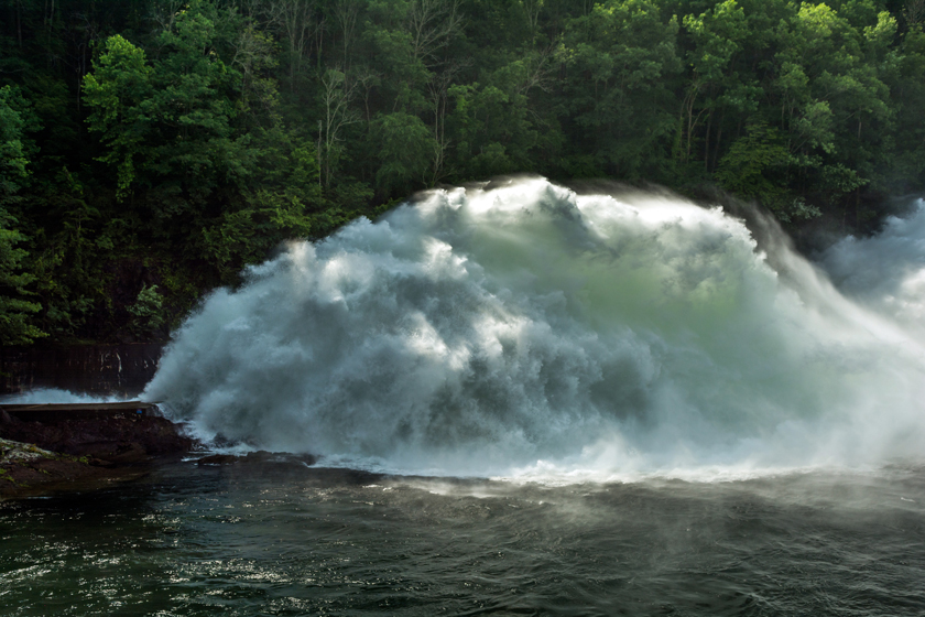 Water Shooting from Spillway at Fontana Dam
