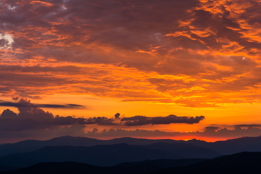 Fire Skies Over the Blue Ridge Mountains