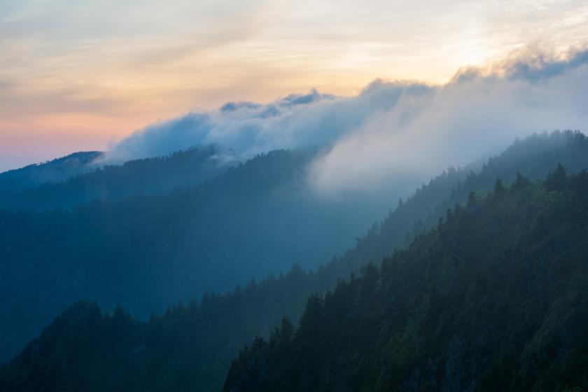 Sunrise Over Smoky Ridges