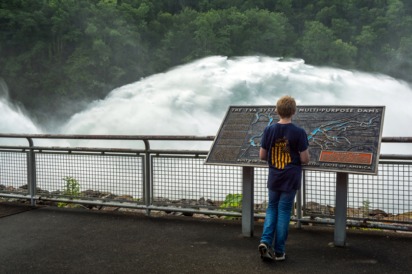 Ethan Booth Viewing the Spillway Release at Fontana Dam