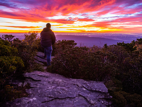 Sunrise from Hawksbill in the Linville Gorge