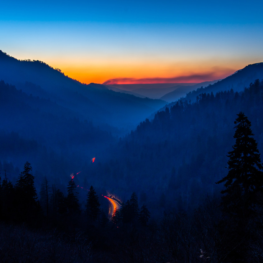 Chimney Tops Fire during Blue Hour