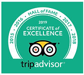 2019 Trip Advisor Certificate of Excellence Hall of Fame