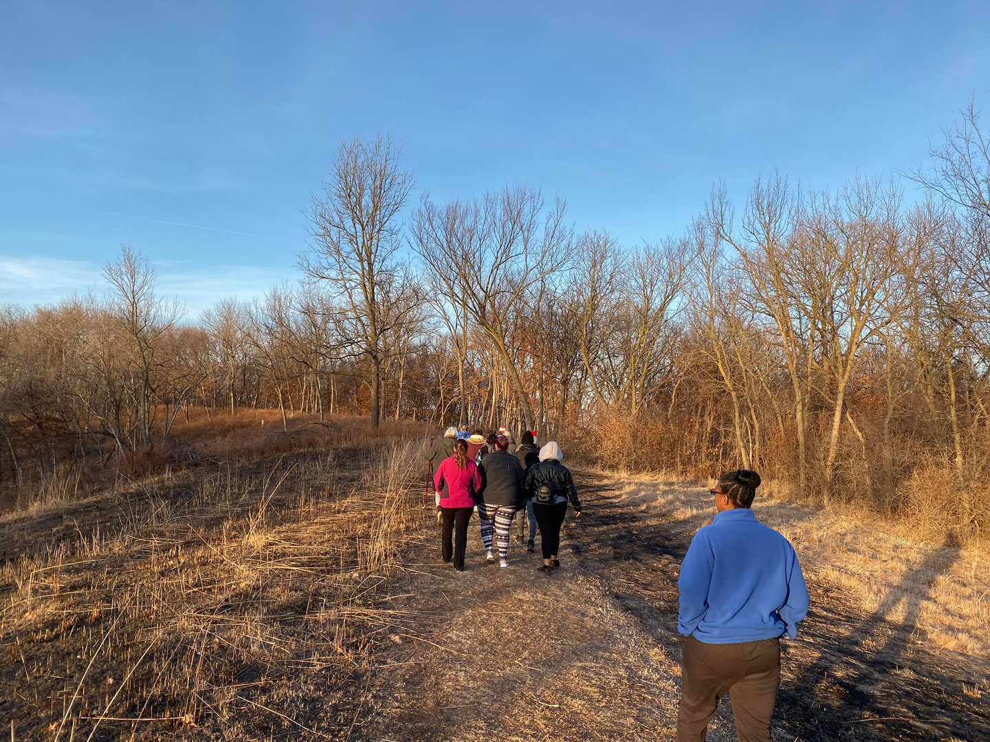 Students on wooded trail