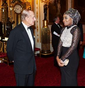Rukky Yussef meeting the Duke of Edinburgh after giving a speech at Buckingham Palace