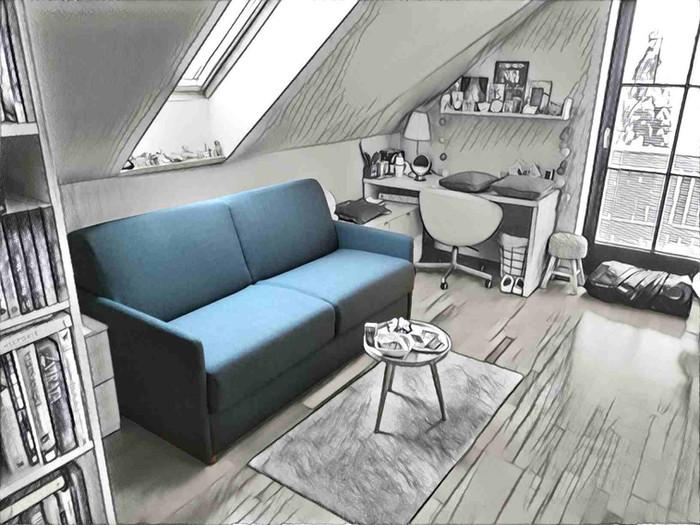 sofabed ADAM Magnum studentský pokoj v podkroví, DEN-NOC