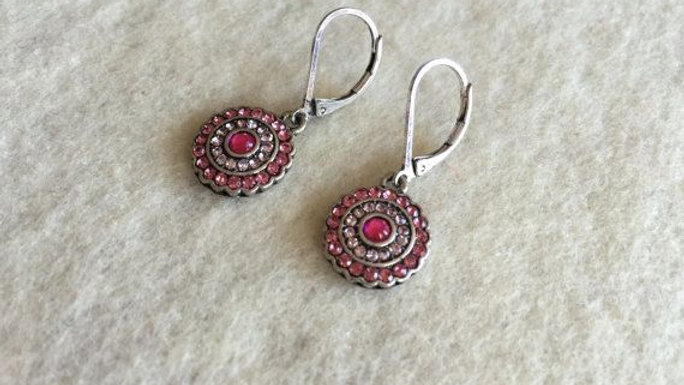 pink lever back glass earrings with pink crystals