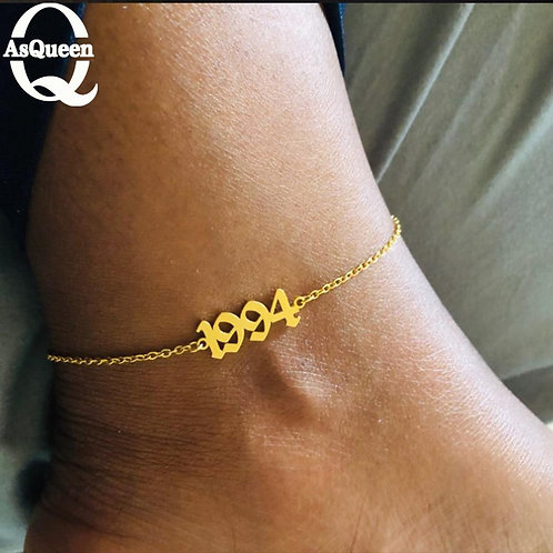 Customised Birth Year Ankle Bracelet (1989-2006)