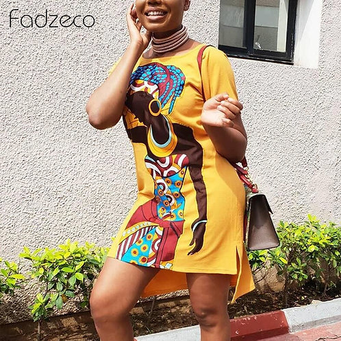 Stylish Dress With African Woman Print