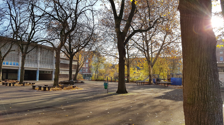 Schulhof im Spät-Herbst