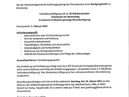 Stellenausschreibung der Mittelschulgemeinde Grafenegg
