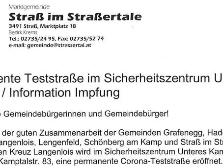 Corona: Permanente Teststraße/Information Impfung