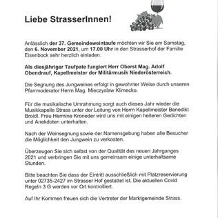 Einladung zur 37. Gemeindeweintaufe im Strasser Hof
