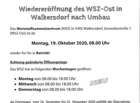 Wiedereröffnung des Wertstoffsammelzentrums in Walkersdorf