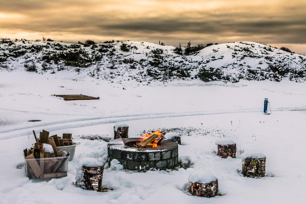 Fireplace at the campsite in Haugesund