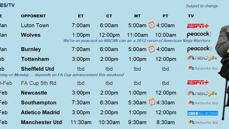 More Fixtures Thru Feb + Bonus This Wknd