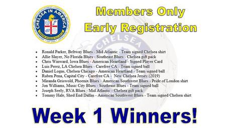 Week 1 Early Membership Winners