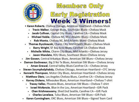 'Early Bird' Winners Week Three