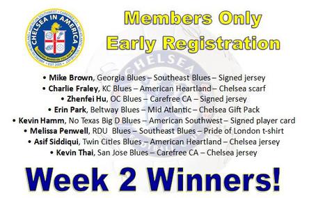 Early Bird Members Week 2 Winners