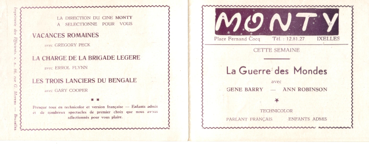 Programme cinéma MONTY 1953