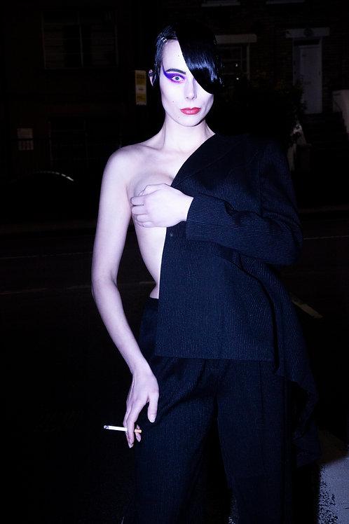 Thierry Mugler Sculpted Waist Pinstripe Suit