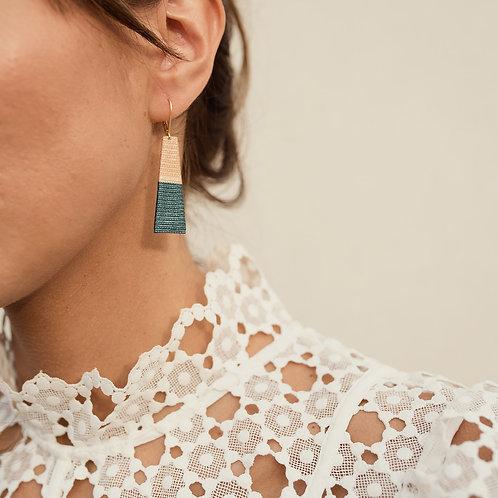boucles d'oreilles couleur en ruban bleu et beige