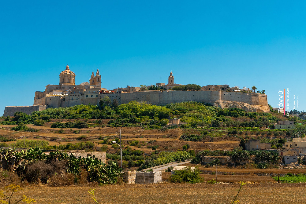 The town of Mdina is a walled city in the middle of farm land.
