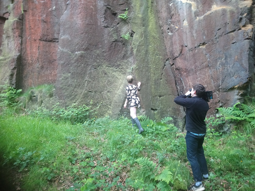 filming next to rocks at Otley Chevin