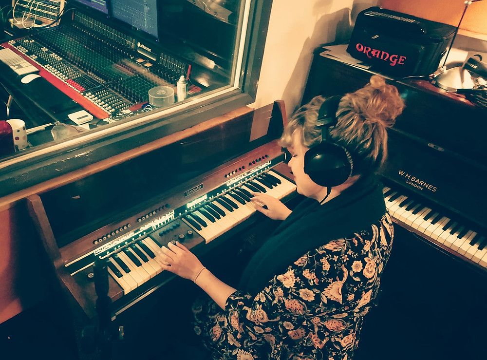 recording on the fun machine in the studio
