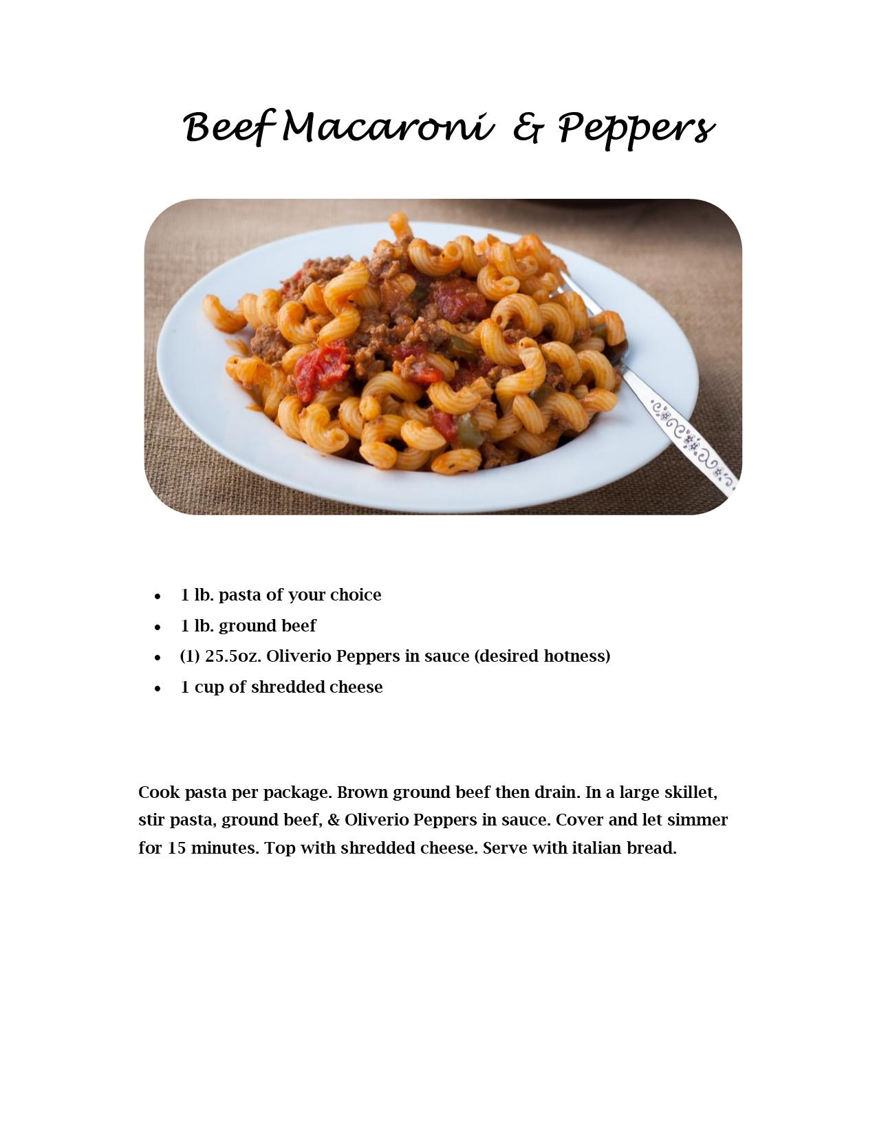 Beef Macaroni & Peppers