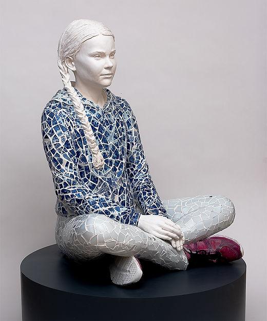 The World We Left Behind. H:84cm Porcelain, plaster, textile.