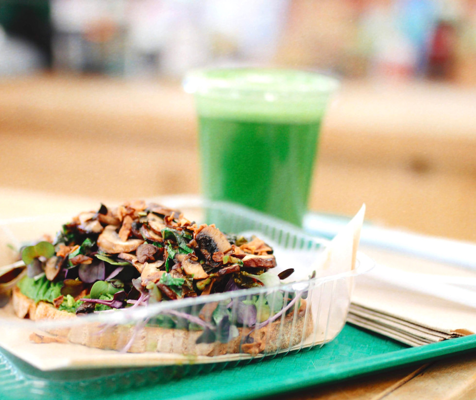 Loaded Mushroom Toast & Original Green Drink