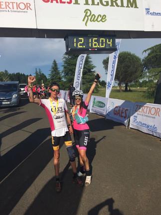 Alex Roca y su pareja Mari Carme Maza en la Pilgrim race 2018