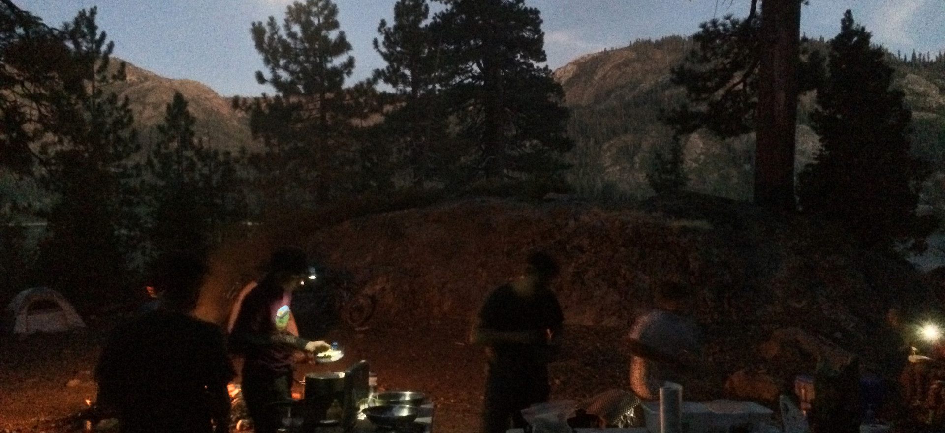 Sunset/moonrise over the camp.