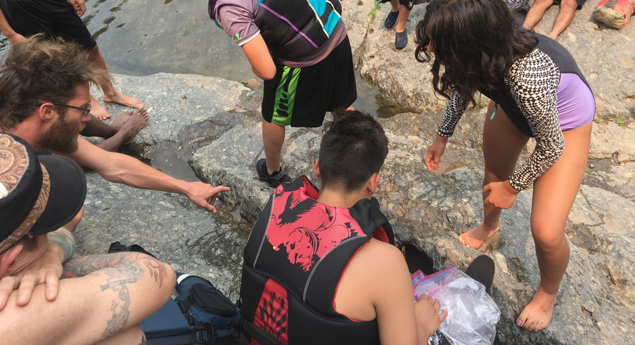 Learning about waterflow by making rock dams.
