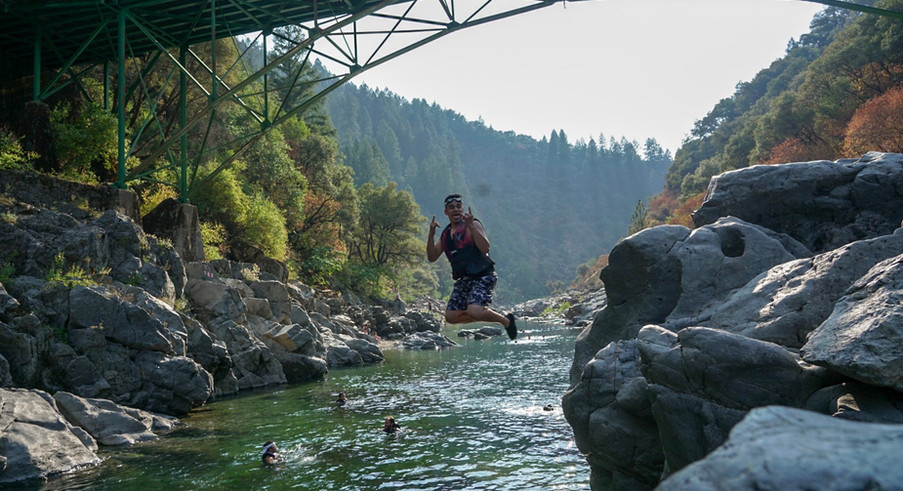 Rock jumping on the American river.