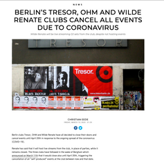 DJ Mag Article of Club Shutdowns because of Corona