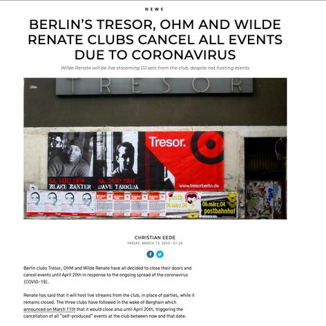 DJ Mag Article of Club Shutdowns because of Corona
