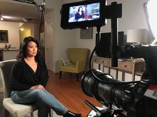 Angeline on set
