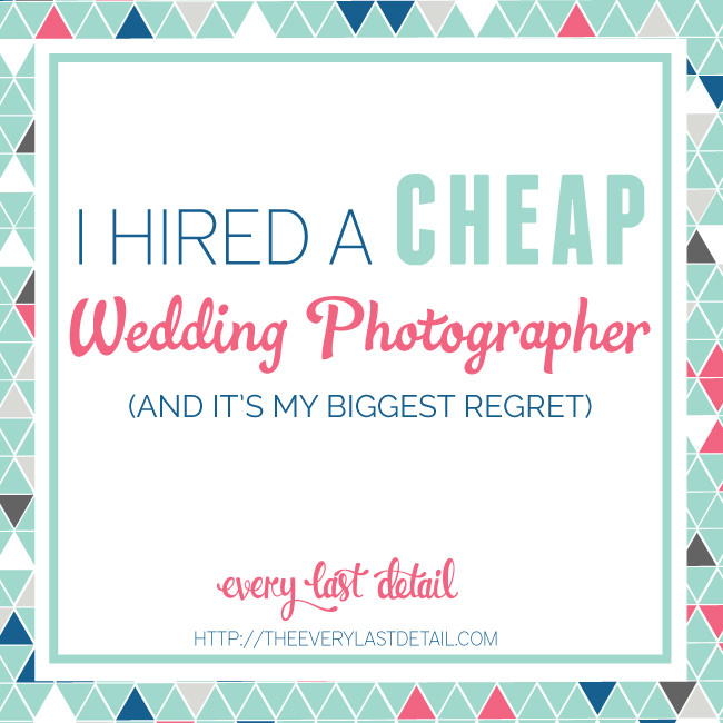 Cincinnati and Northern Kentucky best and most affordable wedding photographer Tammy Bryan picture of the words I Hired a Cheap Wedding Photographer and It's My Biggest Regret