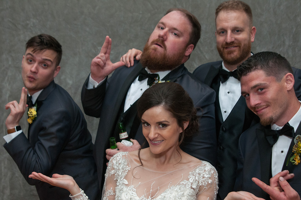 Cincinnati and Northern Kentucky best and most affordable wedding photographer Tammy Bryan's photobooth picture of four handsome groomsmen and a gorgeous bride
